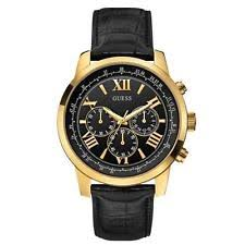 guess watches for men new used guess men s horizon 42mm black leather band steel case quartz watch w0380g7
