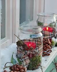 glass jars crafts outdoor luminaries pinecones ribbons decorating ideas