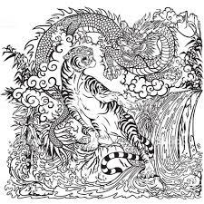 Dragon Versus Tijger Kleurplaat Pagina Stockvectorkunst En Meer