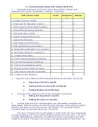 Self Esteem Chart Doc 1 Constructing Positive Self Esteem Work File Bea B