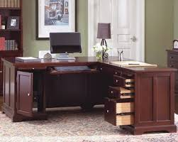 office desks home. Fascinating Office Idea Which Has Classic Theme And Applying L Shaped Home Desks With Several Open Drawers Also Desk Lamp In The Table Corner