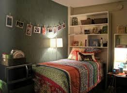 via shelving above bed or on top of desk or dresser