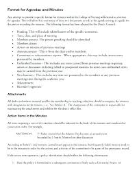 Format For Minutes Writing Meeting Minutes Agenda Template And Writing Examples