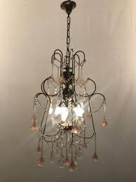 vintage chandelier with pink murano flowers 2