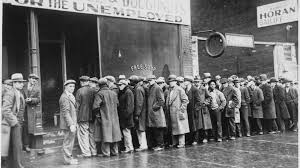 the great depression unemployed men line up outside a depression soup kitchen in chicago illinois in 1931