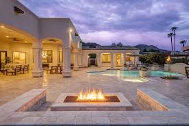 Patio with pool Deck Luxury Patio With Stone Bench Seating Around Fire Pit With Pool Views National Pools And Spas 50 Beautiful Patio Ideas furniture Pictures Designs Designing Idea