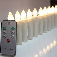 tbw flameless ivory mini simulated wax dipped flickering amber led taper candles with remote and removable
