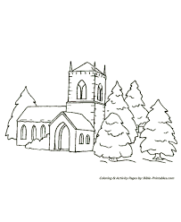 Small Picture Christmas Scenes Coloring Pages Church in the trees