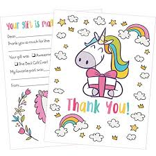 Blank Thank You Notes 25 Unicorn Thank You Cards Kids Will Love These Cute 5x7 Inch Fill In The Blank Thank You Notes With Envelopes