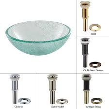 discontinued 14 inch mosaic glass vessel bathroom sink with optional pop up and mounting