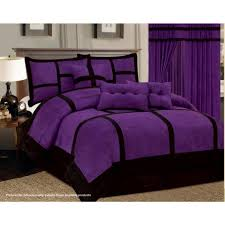 11 Piece Purple Black Comforter Set + Sheet Set Micro Suede Cal King Size  Bed in
