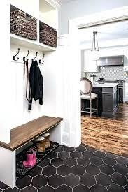 black hexagon tile bathroom and white hex marble floor