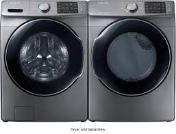 black washer and dryer. Ft. 10-Cycle High-Efficiency Front-Loading Washer With Steam - Platinum Black And Dryer