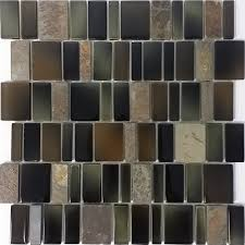 elida ceramica blended monarch staggered mosaic stone and glass slate wall tile common 12