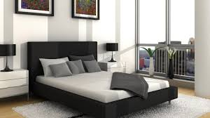 Bedroom, White Wooden Bedside Table Wall Black Night Lamp Grey Pillow  Blanket Carpet Bed Bedding
