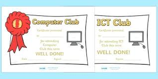 Ict Lesson Plans Secondary School Computer Club Certificates ...