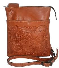 patricia nash p17407 tooled florence leather stipes sling purse