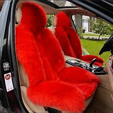 yaohaohao real sheepskin long wool sofa chair seat cushion car seat cover a terroir red