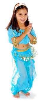 5 Piece Little Girls Arabian Princess Genie Kids Costume   JASMINE BLUE