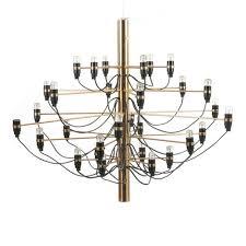 30 arm chandelier of brass by gino sarfatti