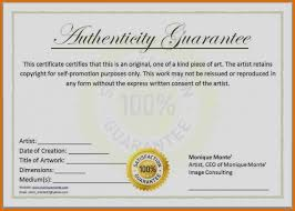 Best Certificate Of Authenticity Templates Gallery Examples