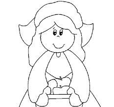Pilgrim Girl Coloring Page Coloringcrewcom