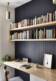office wall shelving. This Is Nice For Our Little Office Area, Dark Panelled Wall With High Shelving And A Desk The Computer Etc.