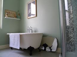 Excellent White Porcelain Freestanding Tub With Floating Shelves As  Decorate In Vintage Grey Bathroom Ideas