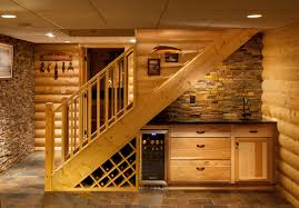 basement wet bar under stairs. Basement Rustic With Wet Bar Stone Wall Stacked Under Stairs
