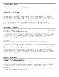 Example Data Entry Resume - Free Sample