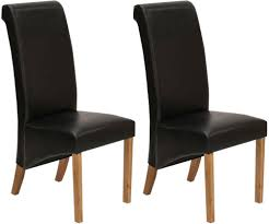 faux leather dining chair black: vida living torino faux leather dining chair black with oak leg pair