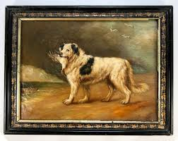 superb antique oil painting on board frame portrait of a dog duck in