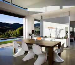 view in gallery classic panton chairs and the view outside lend elegance to dining room contemporary table decor e62 contemporary