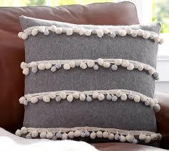 pom pom pillow. Interesting Pillow Pom Stripes Pillow Cover With E