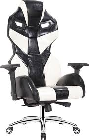 luxury leather office chair. EarthCroc | Luxury Genuine Oil-Waxed Leather Executive Office Racing Gaming Chair Y-3001-Alien Black \u0026 White T