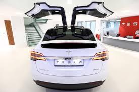 tesla electric car motor. A Tesla Motors Inc. Model X P90D Electric SUV At Car Motor