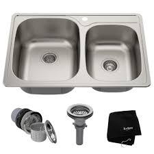 Stainless Steel 33 L X 22 W Double Basin Drop In Kitchen Sink