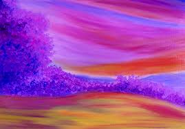purple forest landscape painting by contemporary indian artist seshadri