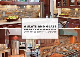 slate mosaic brown rusty kitchen backsplash