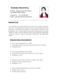 Resume For Teacher Job In India For Fresher Professional Resume