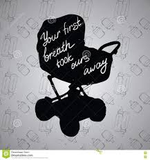 Illustration Quotes On Baby Stroller Carriage Pram Silhouette