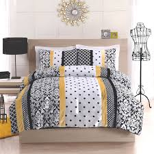 attractive grey and white comforter with yellow combination