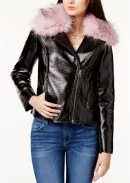 faux fur trim moto jacket guess