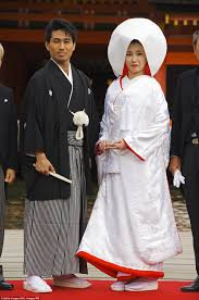 beautiful pictures show how traditional weddings look around the Wedding Kimono Male ceremonial for a traditional japanese wedding, a bride will often sport a purely white wedding kimono for sale