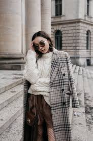 mango checked double ted coat chunky cable knit