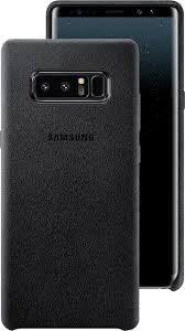 front and back view of the galaxy note8 in the alcantara cover in black