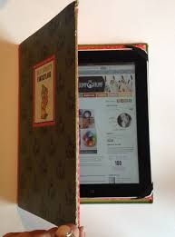 i used an old disney book the kids weren t interested in be sure it will fit the ipad you want it to be about 1 4 inch wider on all sides but there s