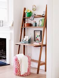 in an alcove of a guest room this practical ladder desk takes up very little