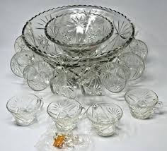 glass punch bowl set stand early anchor hocking vintage uk glass punch bowl set uk