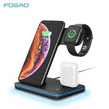 FDGAO 3 in 1 15W Qi Wireless Charger For iPhone 12 11 XS XR X 8 Samsung S21  Fast Charging Stand For Apple Watch 6 5 Airpods Pro|Mobile Phone Chargers